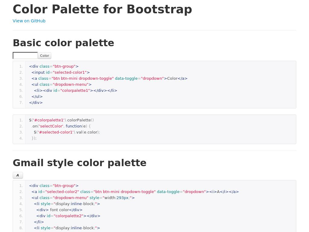 Bootstrap Colorpalette