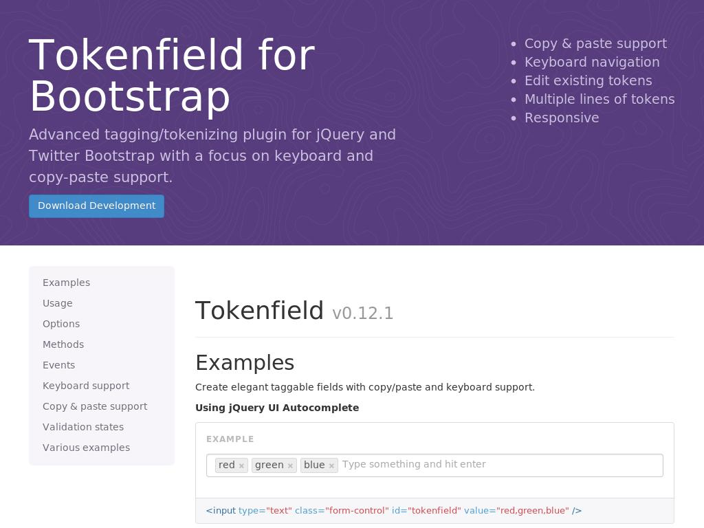 Tokenfield for Bootstrap - Дизайн