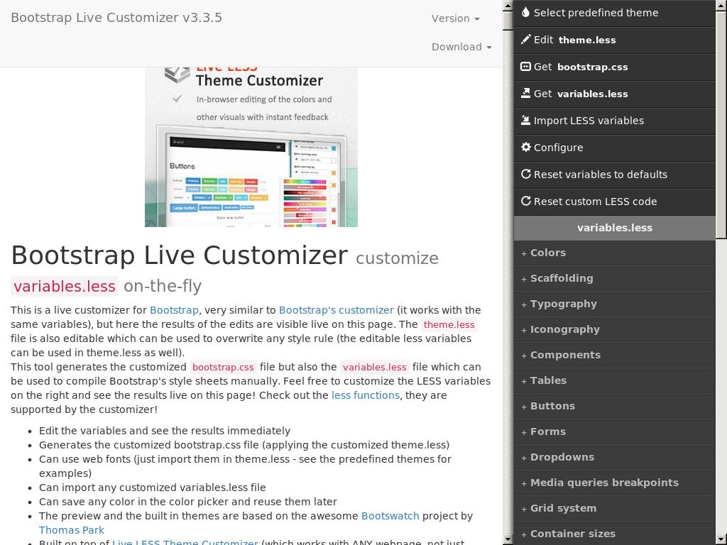 Bootstrap Live Customizer - Дизайн