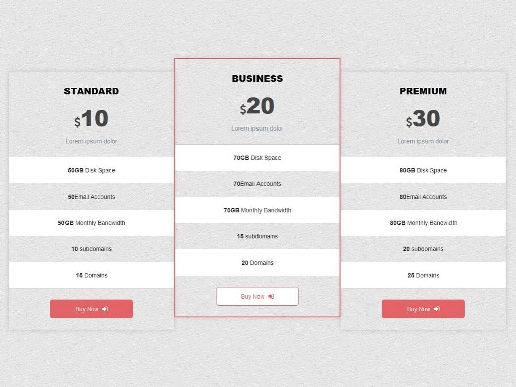 3 прозрачных прайса Bootstrap
