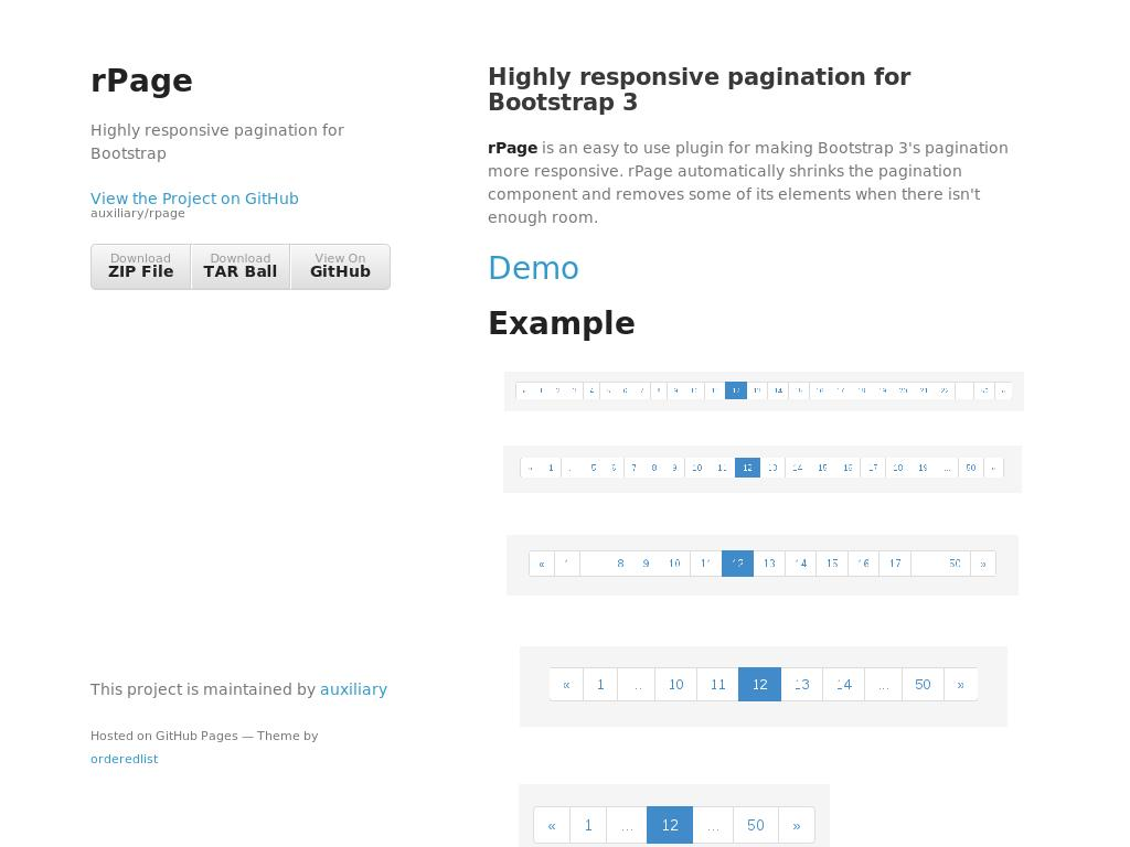 Responsive pagination JS plugin, адаптивный элемент кнопок пагинации страниц для Bootstrap, дополнительный плагин состоящий из файла внешнего скрипта.