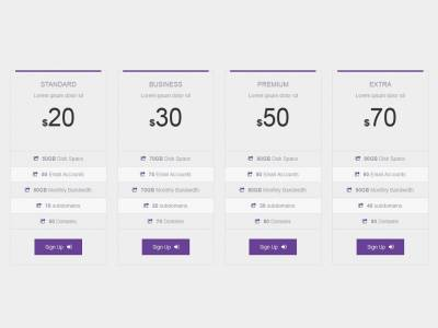 Pricing Bootstrap Color Style