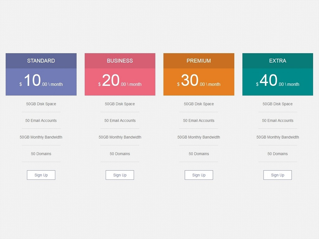 Pricing table style transparent