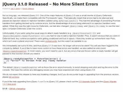 jQuery 3.1.0 Released