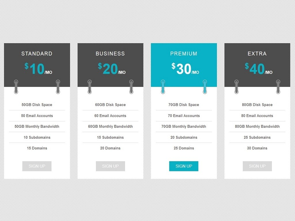 Pricing table list header - Прайсы