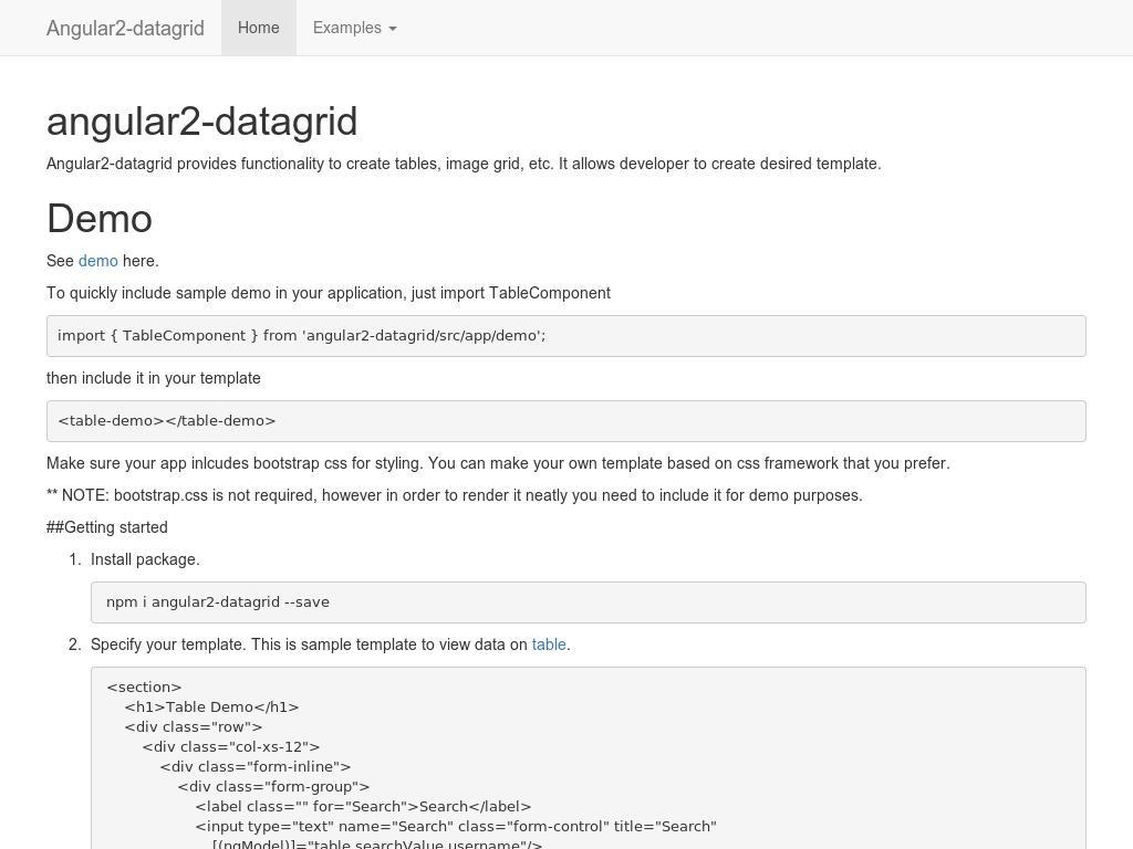 Angular2 Datagrid