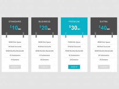 Pricing table list header