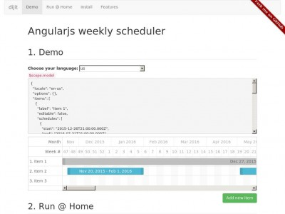 Angularjs weekly scheduler