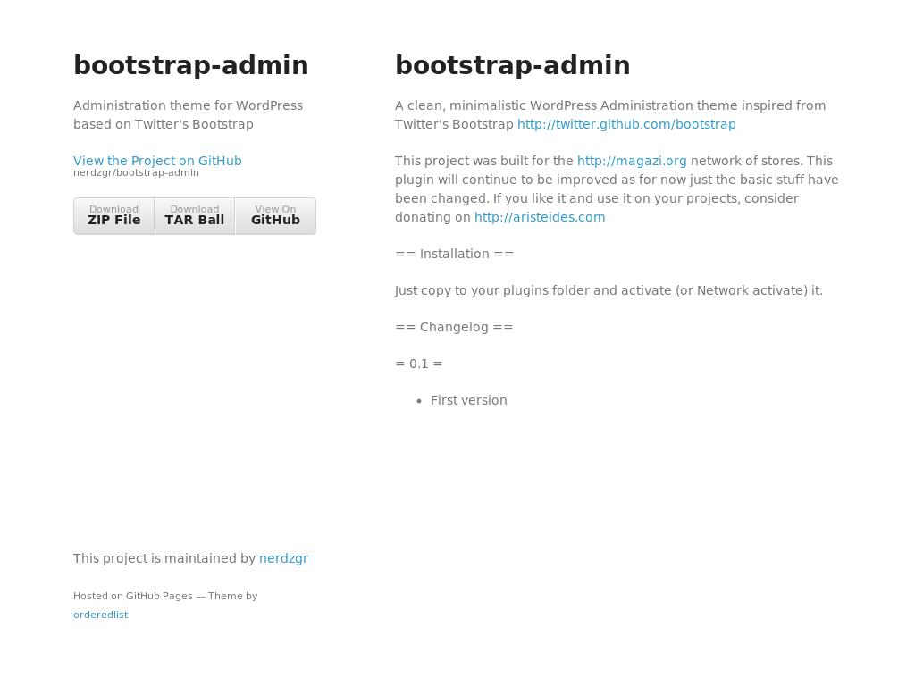 Bootstrap Admin for WordPress