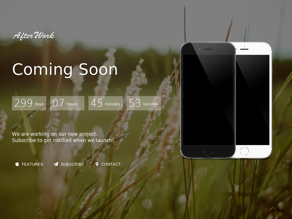 Parallax Coming Soon template Bootstrap 3, used plugins: Animate, Twit, Gmap, DownCount and WOW, free theme for website.