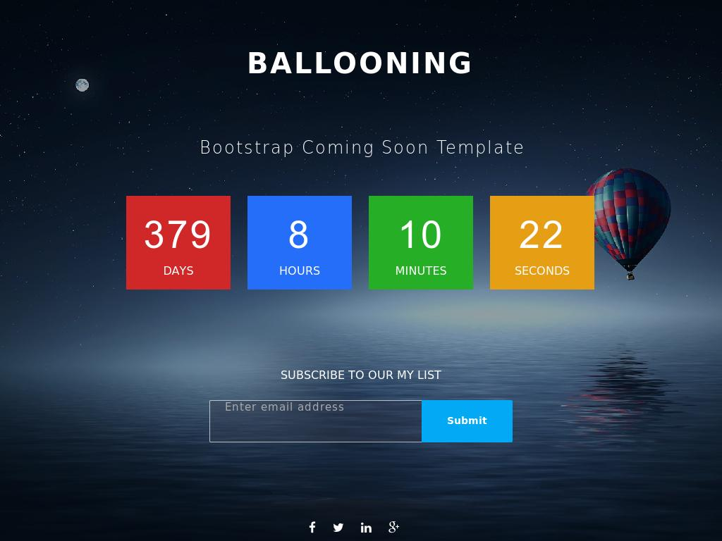Coming Soon responsive HTML template Bootstrap 3 for website, plugins: Backstretch, CountDown, Subscribe, download free.