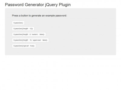Password Generator jQuery Plugin