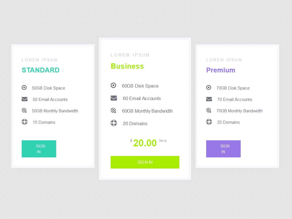 Pricing Table Transition Effect - Прайсы