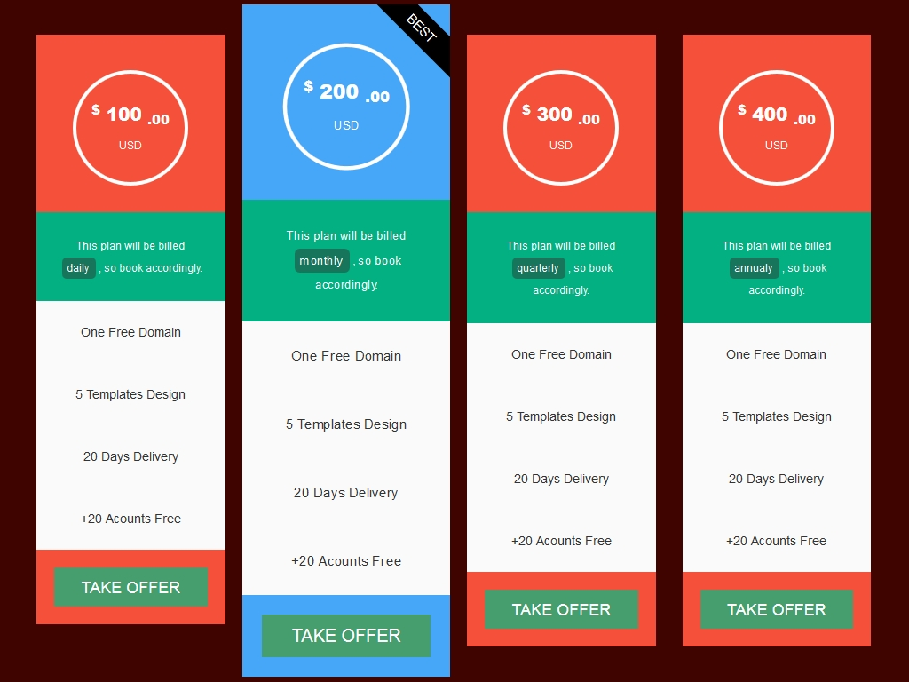 Offer Pricing Table