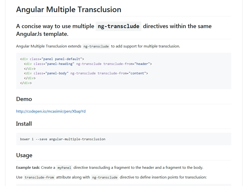 Angular Multiple Transclusion - Улучшение