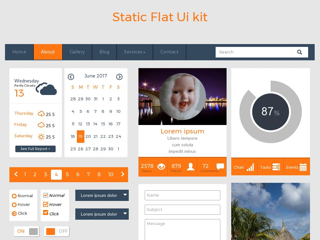 Static Flat Ui Kit - Лендинг