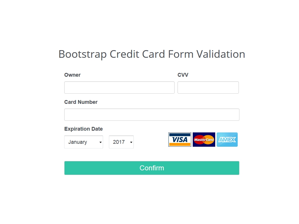 Bootstrap Credit Card Form Validation - Формы