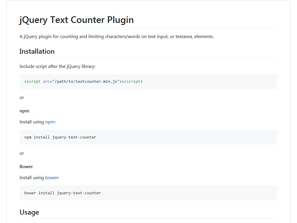 jQuery Text Counter - Улучшение