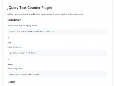 jQuery Text Counter