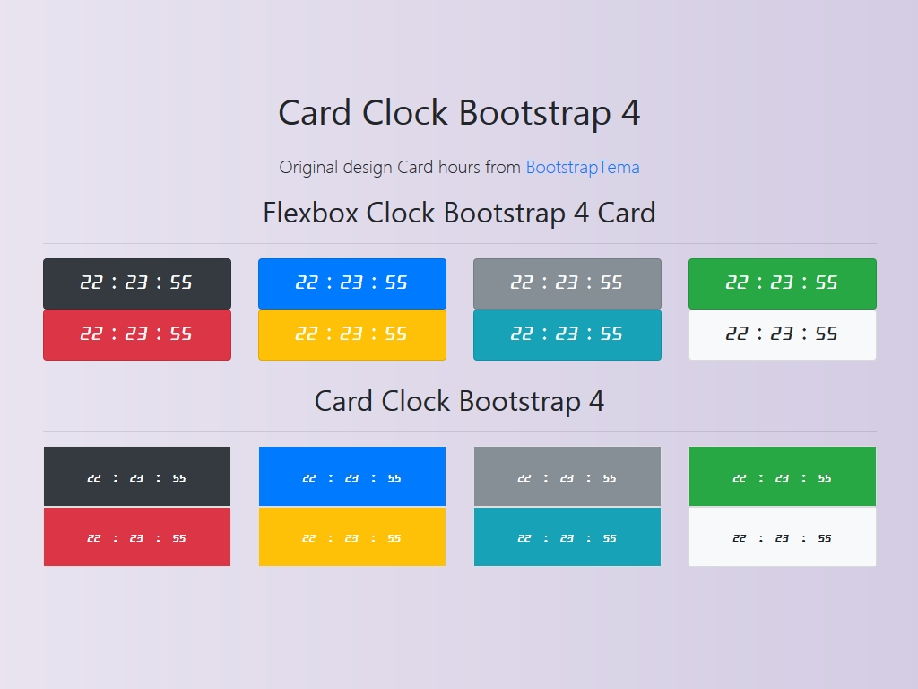 Card Clock Bootstrap 4 - Часы