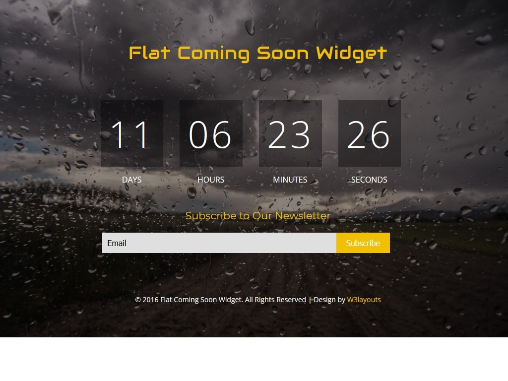 Flat Coming Soon Widget - Заглушка