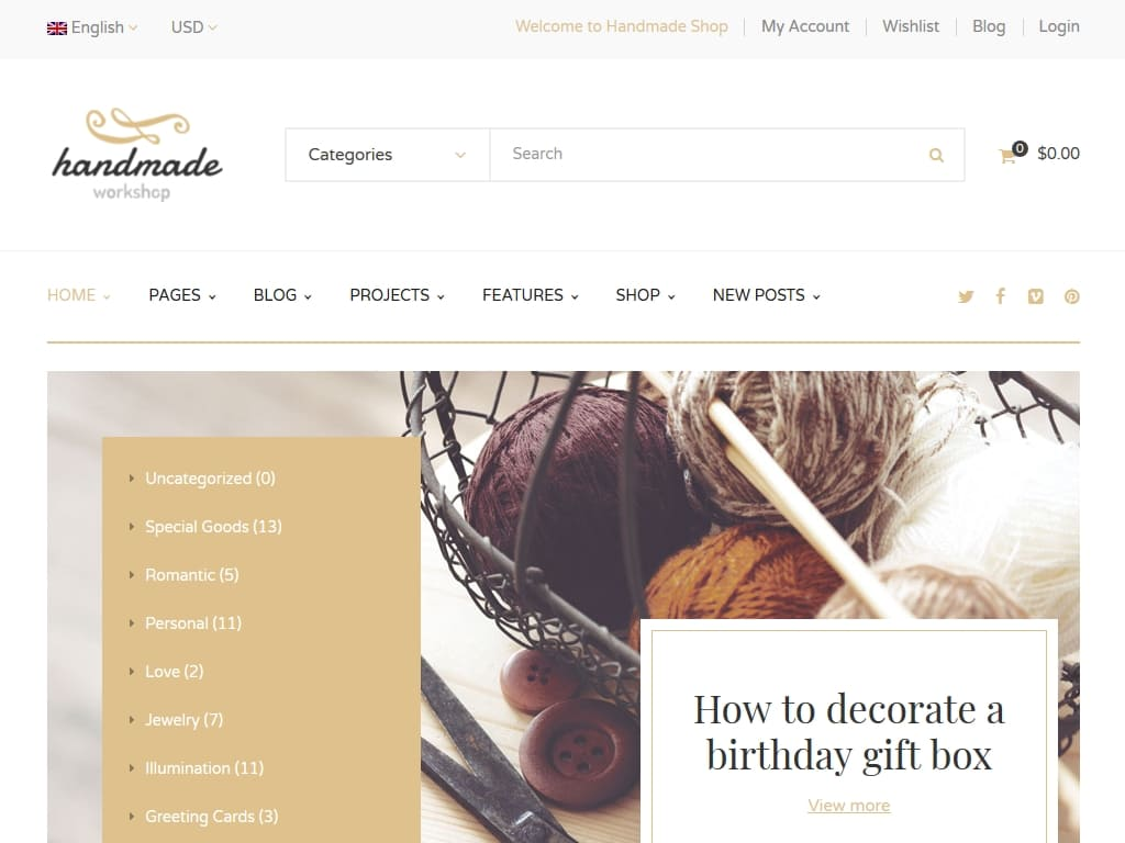 Handmade - WordPress - Магазин