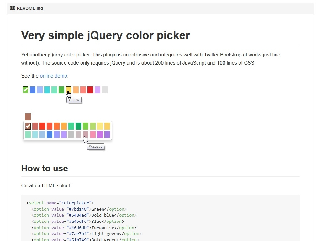 Very simple jQuery color picker - Улучшение