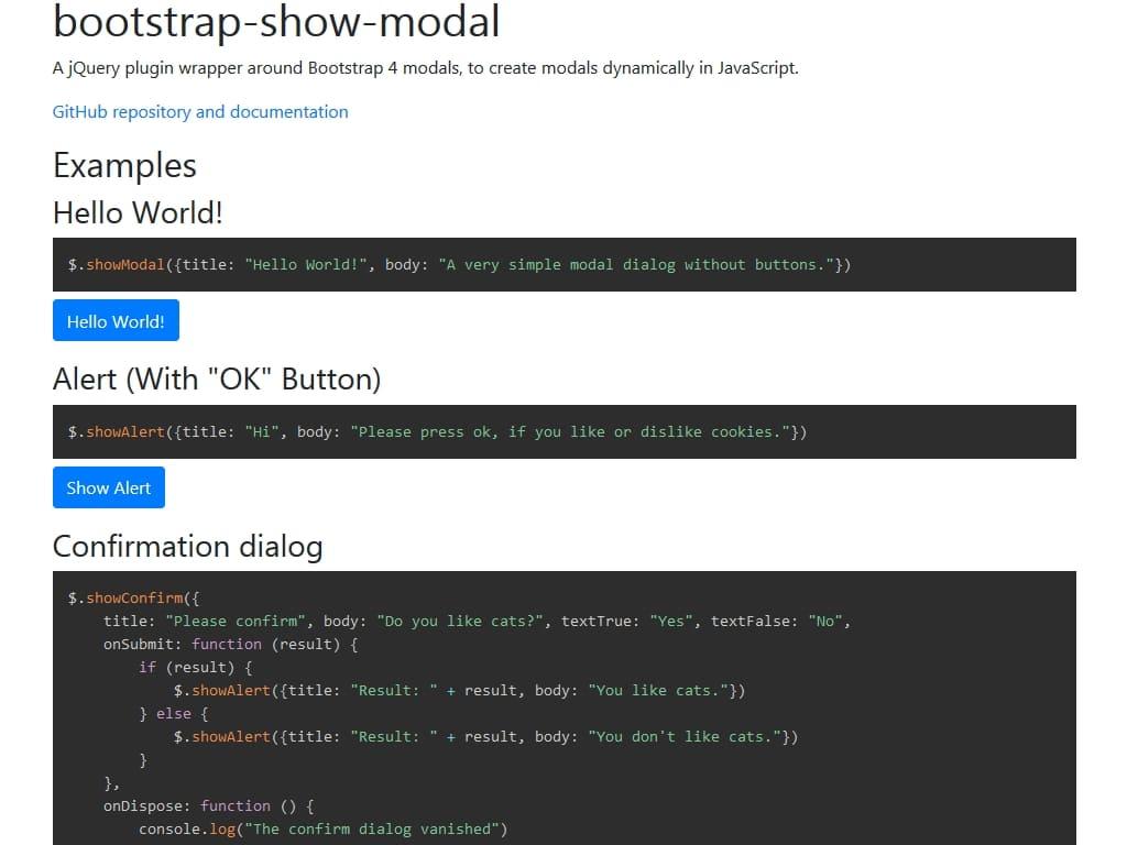 Bootstrap Show Modal / Улучшение / Плагины Bootstrap
