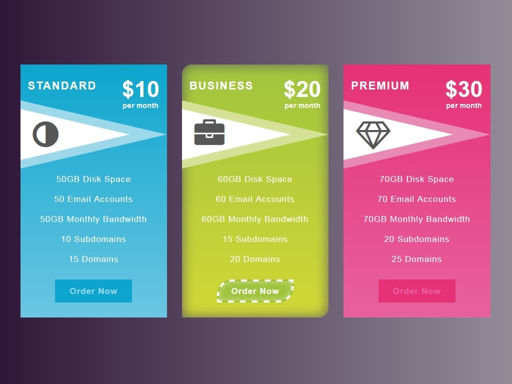 Pricing table button border dashed hover - Прайсы