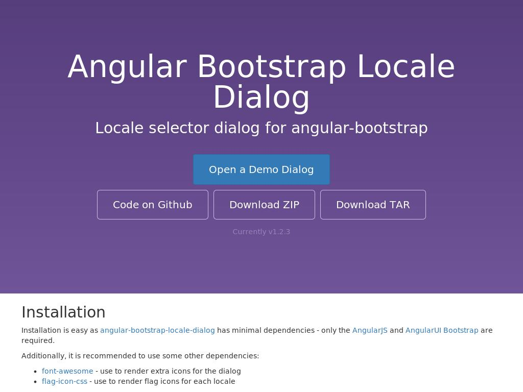 Angular Bootstrap Locale Dialog