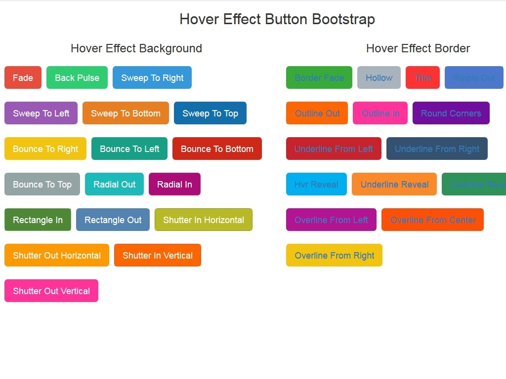 Hover Effect Button Bootstrap - Эффекты