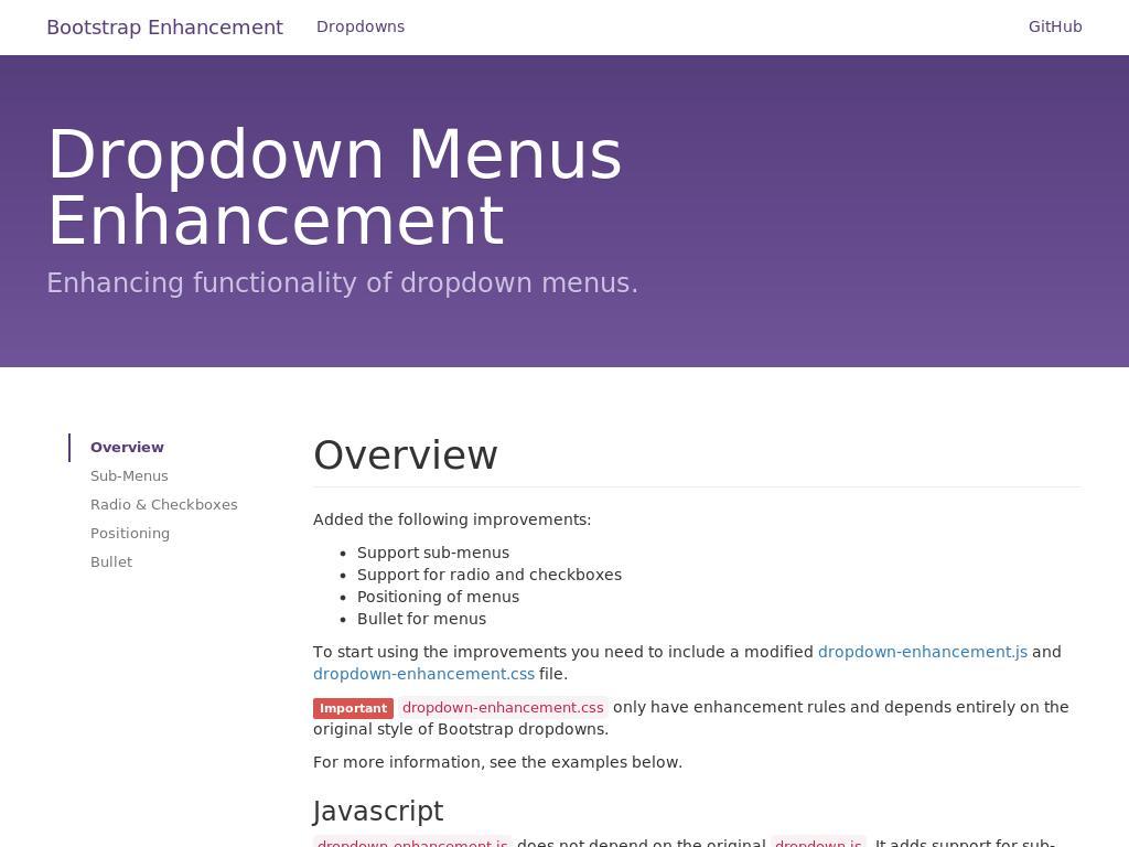 Dropdown Menus Enhancement