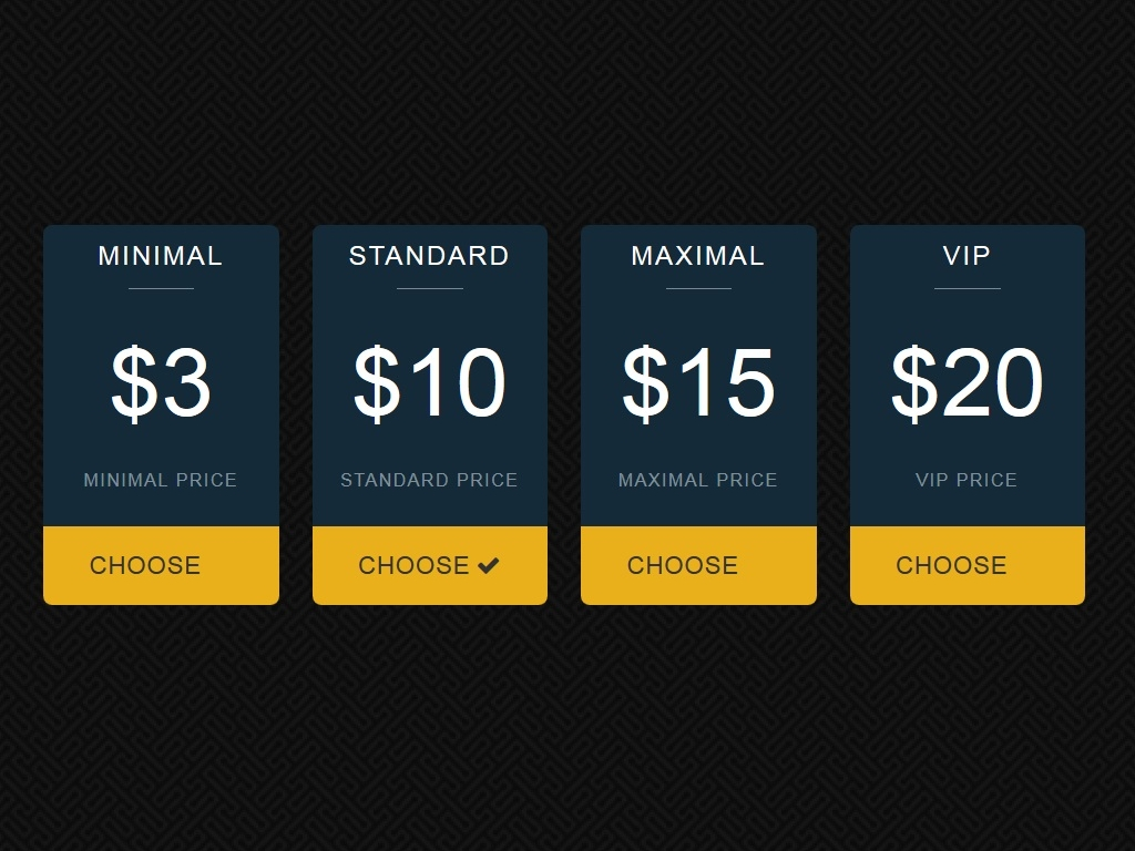 4 Blocks pricing table Bootstrap