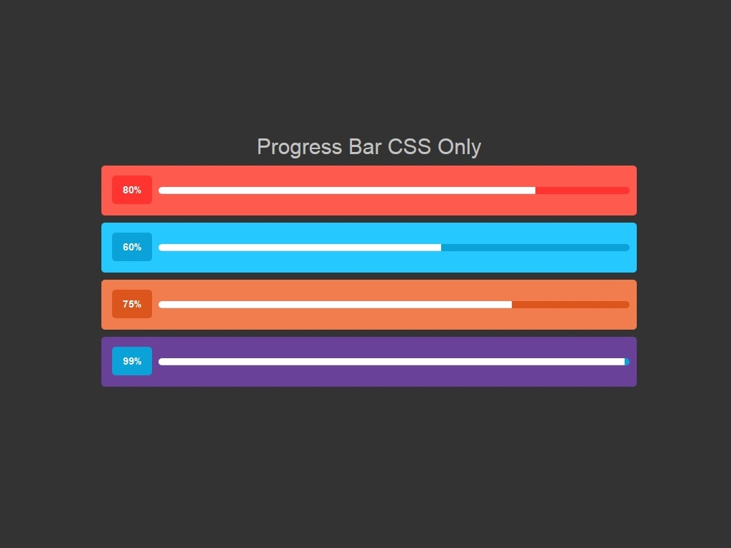 Progress Bar CSS Only - Элементы